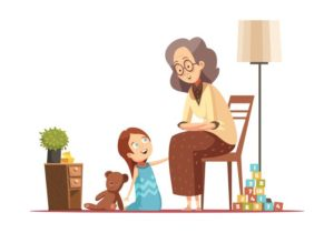 vector-grandmother-with-child-retro-cartoon